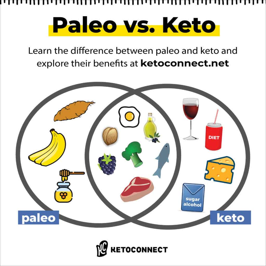 venn diagram depicting the difference between paleo vs keto diets