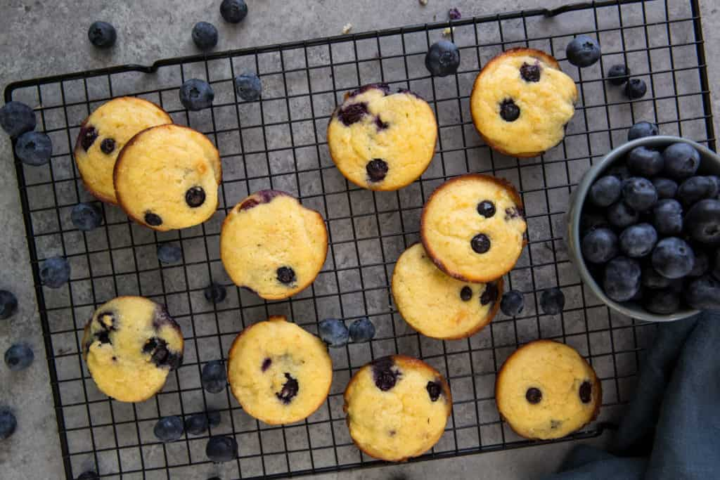 blueberry muffin top coconut flour cookies on a cooling rack with a bowl of fresh blueberries