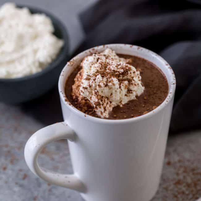 a mug of freshly made cocoa