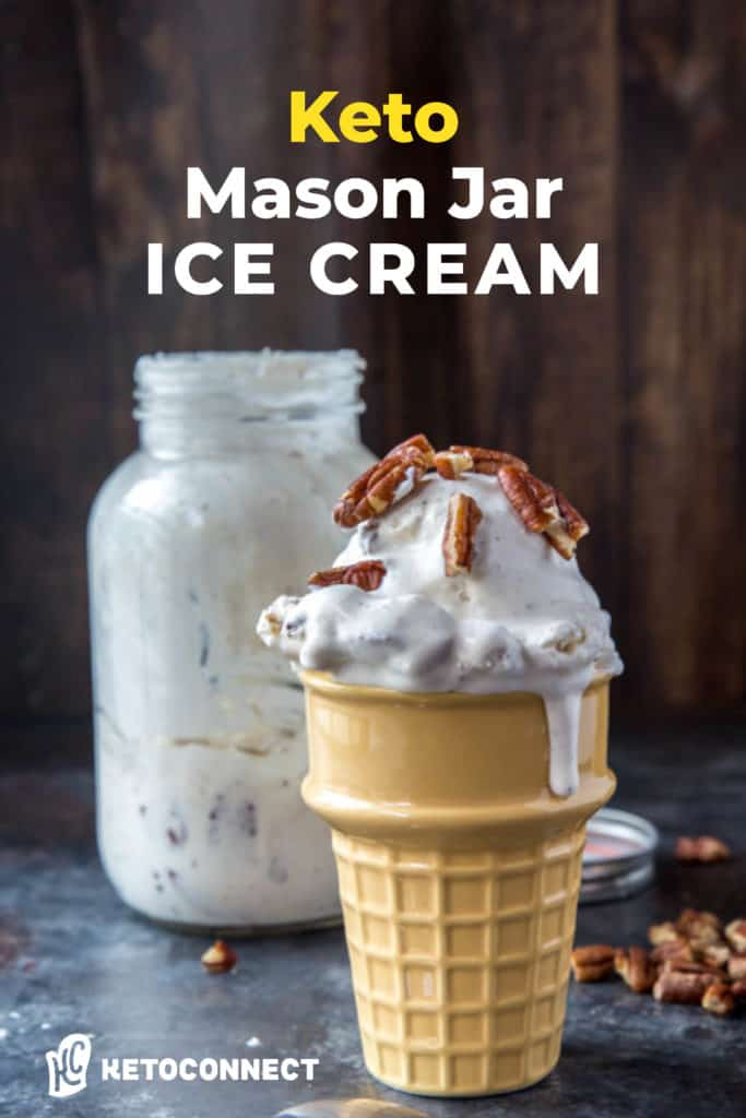 mason jar ive cream in a ice cream cone serving dish