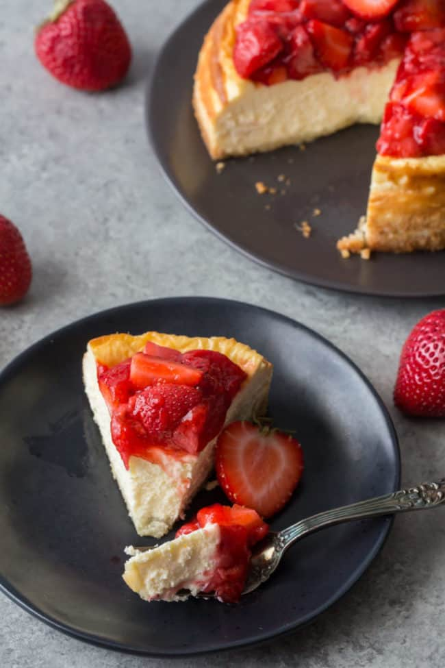 strawberry cheesecake with fork