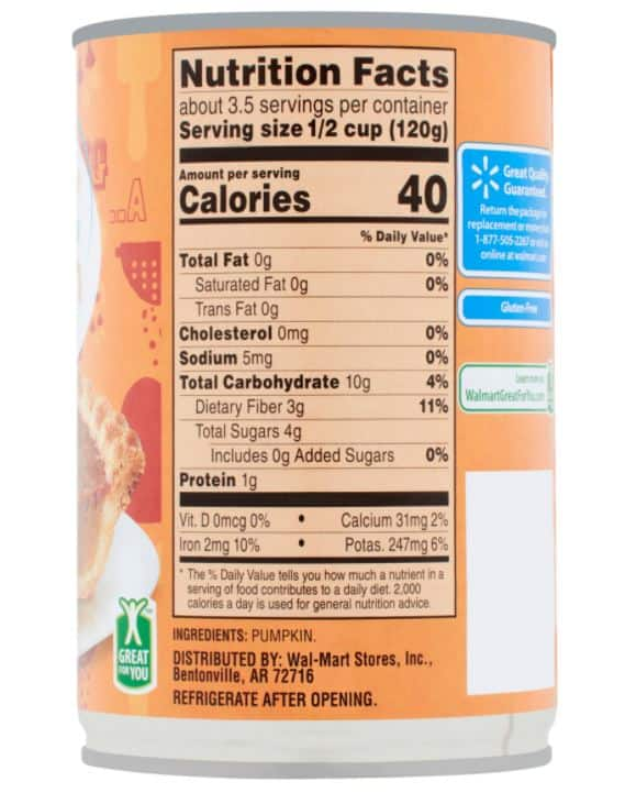 ingredients and nutrition information for pumpkin