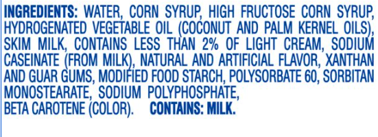 ingredients list of many items that are questionable