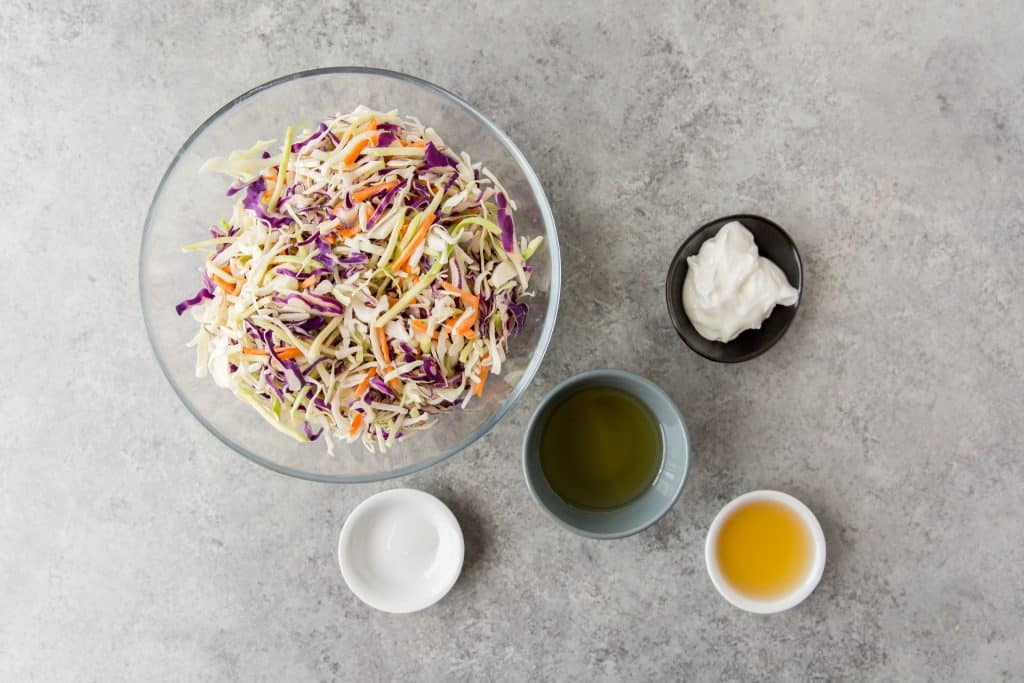 simple ingredients for keto coleslaw on a table