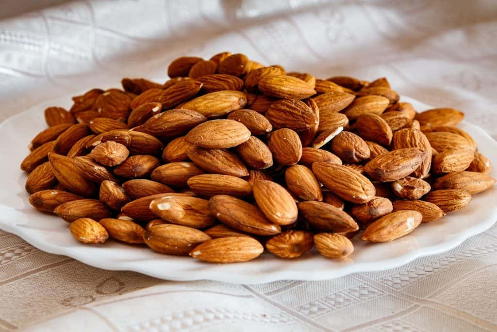 almonds on a plate ready to be eaten