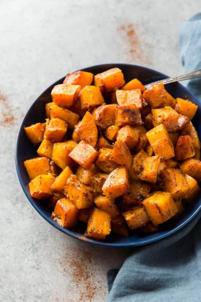 keto roasted squash served in a bowl as a side dish