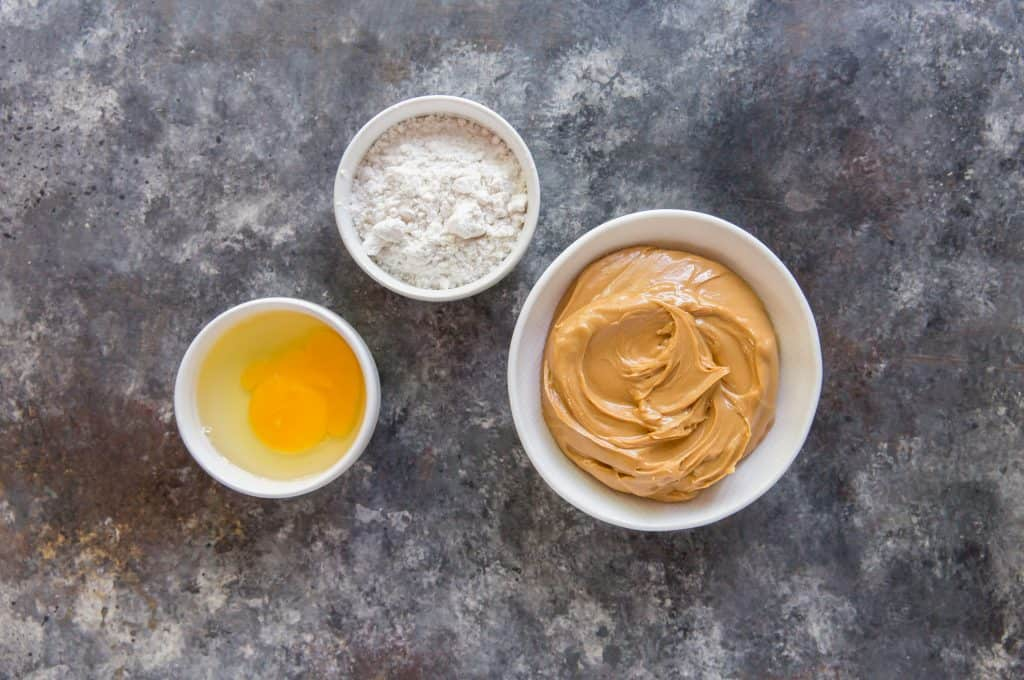 Eggs, Peanut Butter, and sweetener in bowls