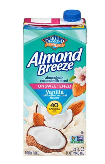 carton of unsweetened almond milk