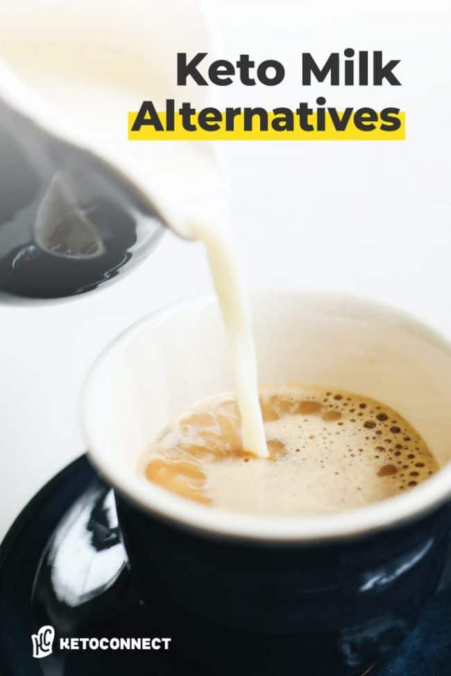 milk being poured into coffee with text overlay