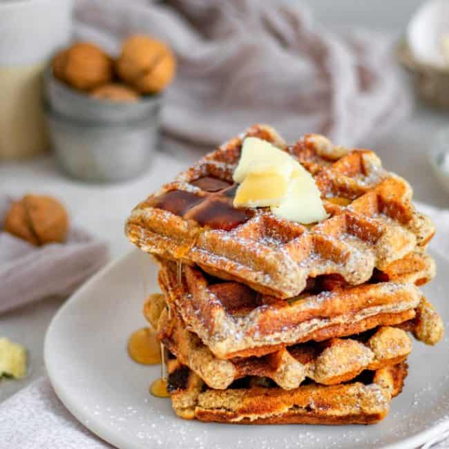 Keto Waffles stacked to serve