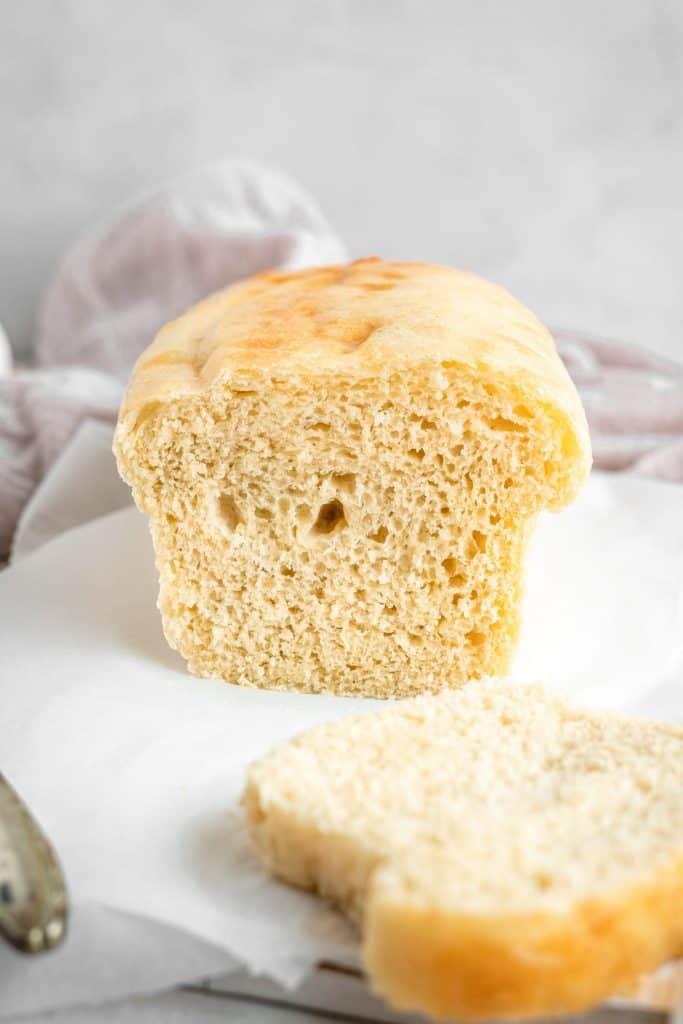 Head on shot of fluffy sliced keto bread