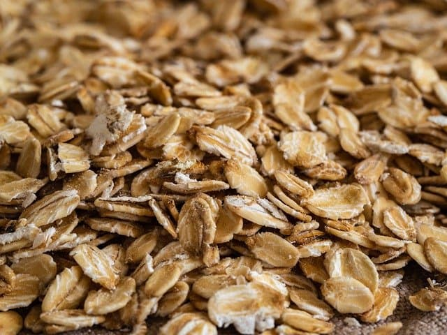 Traditional rolled oats in a pile