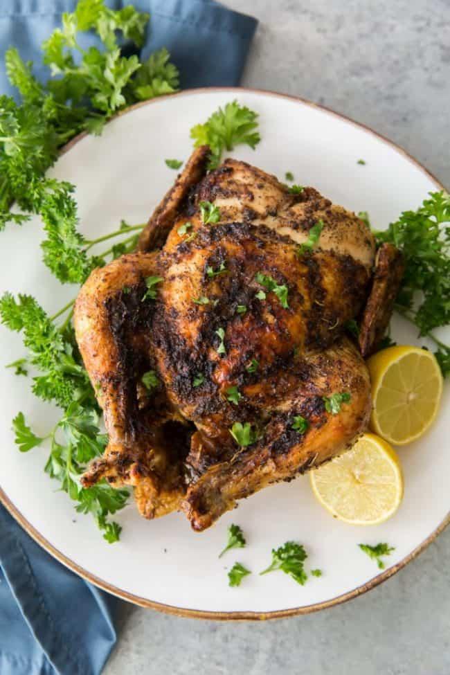 Vertical shot of plated air fryer chicken