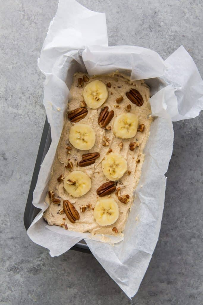 banana bread topped before going into the oven