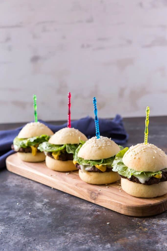 mini keto hamburgers with colorful toothpicks