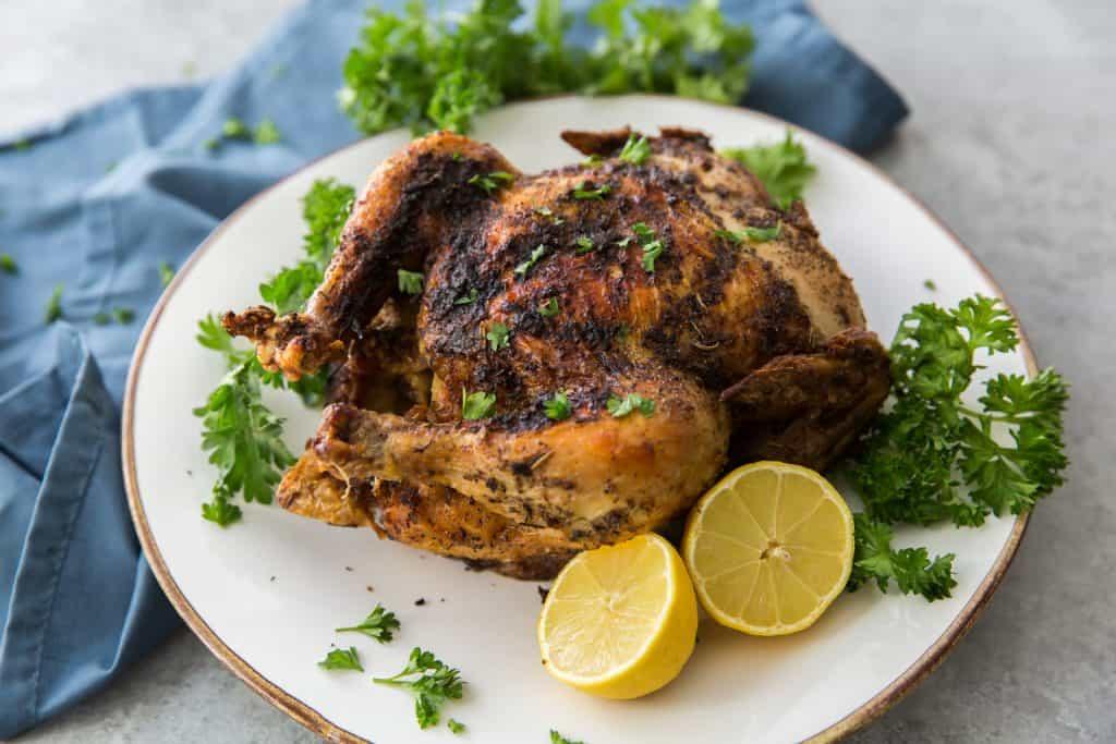 horizontal shot of roasted chicken