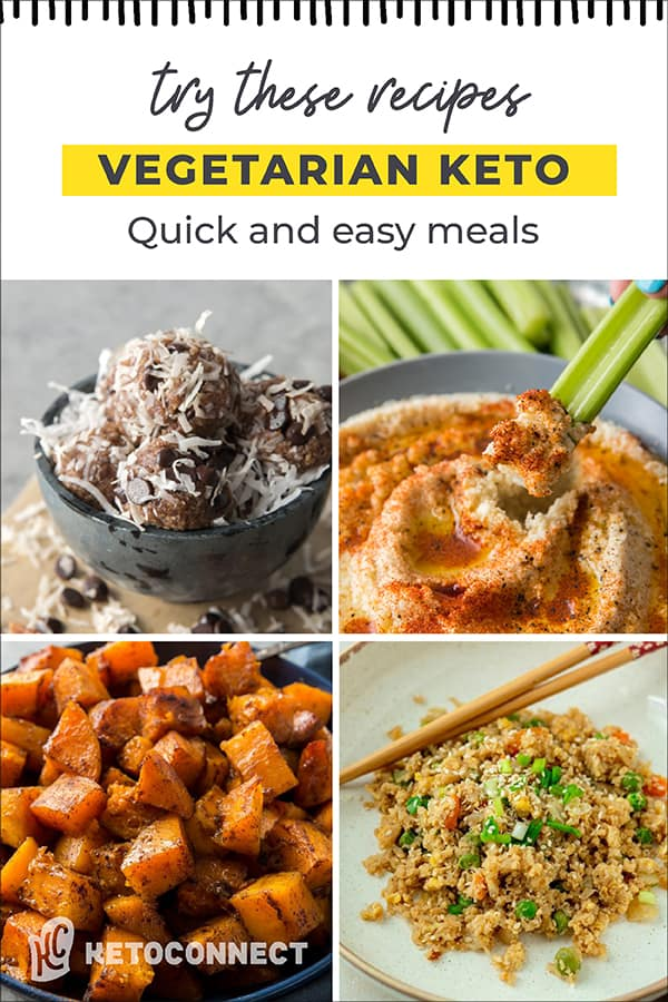 four vegetarian keto recipes with title text