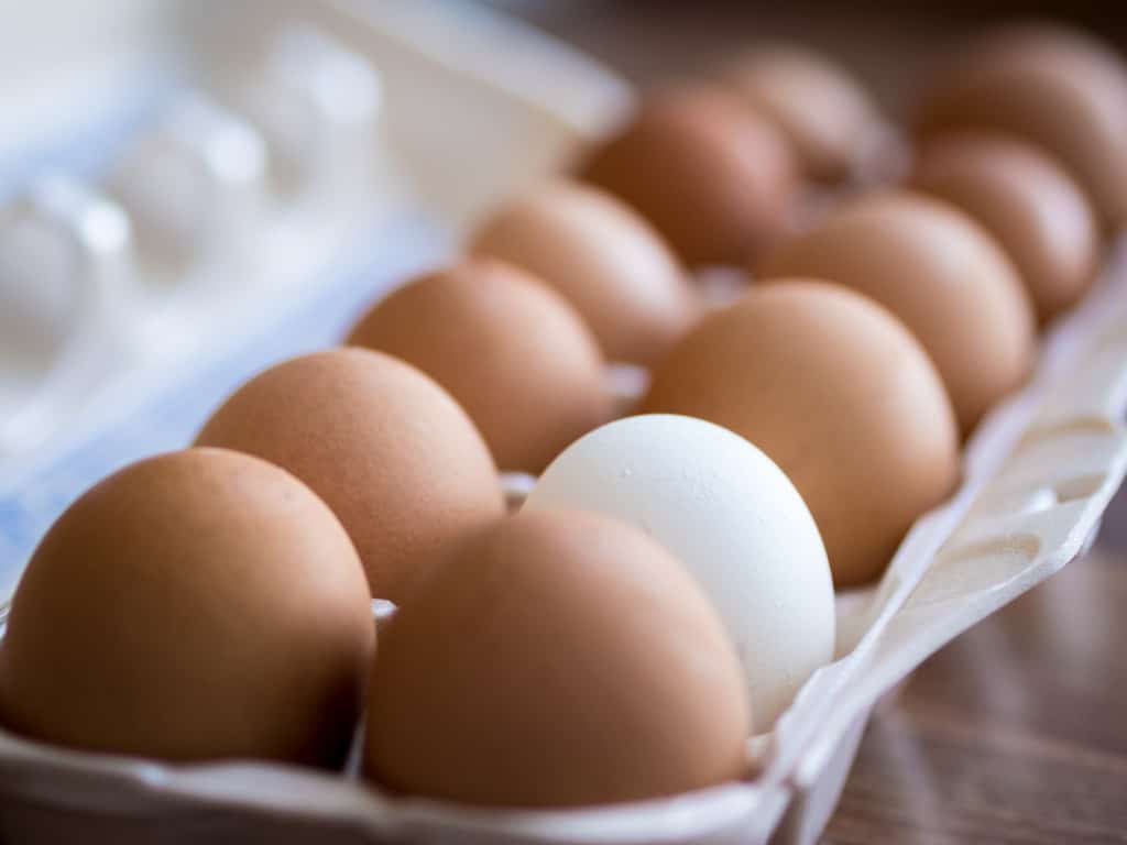 a dozen farm fresh eggs in a carton