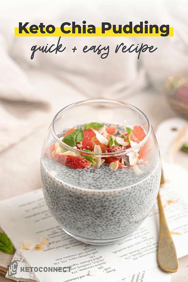 overnight chia pudding in glass cup with spoon on white napkin