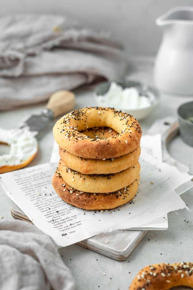 stack of keto bagels on a napkin