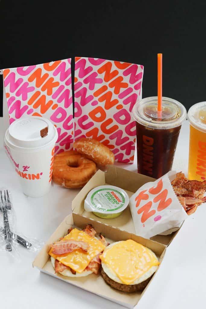 Dunkin Breakfast items with drinks