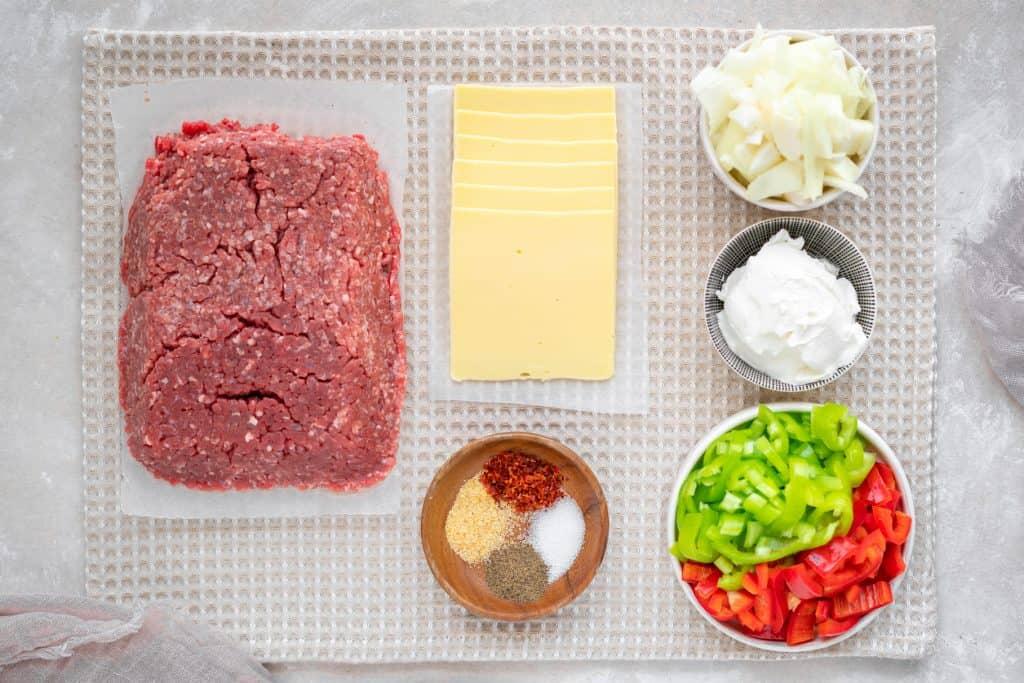 Ingredients to make Philly cheesesteak casserole