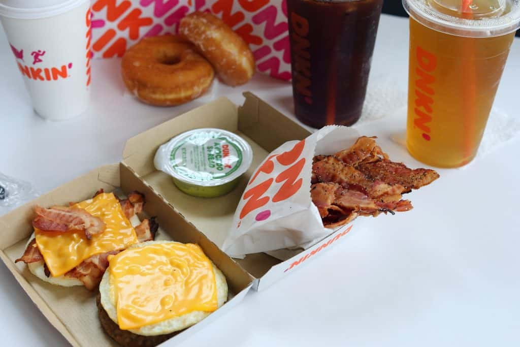 A close up of the Dunkin Donuts products