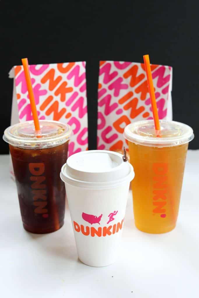 One hot and two iced dunkin drinks