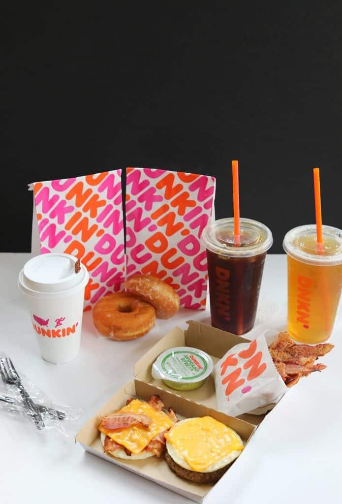 Dunkin Donuts breakfast foods in a spread