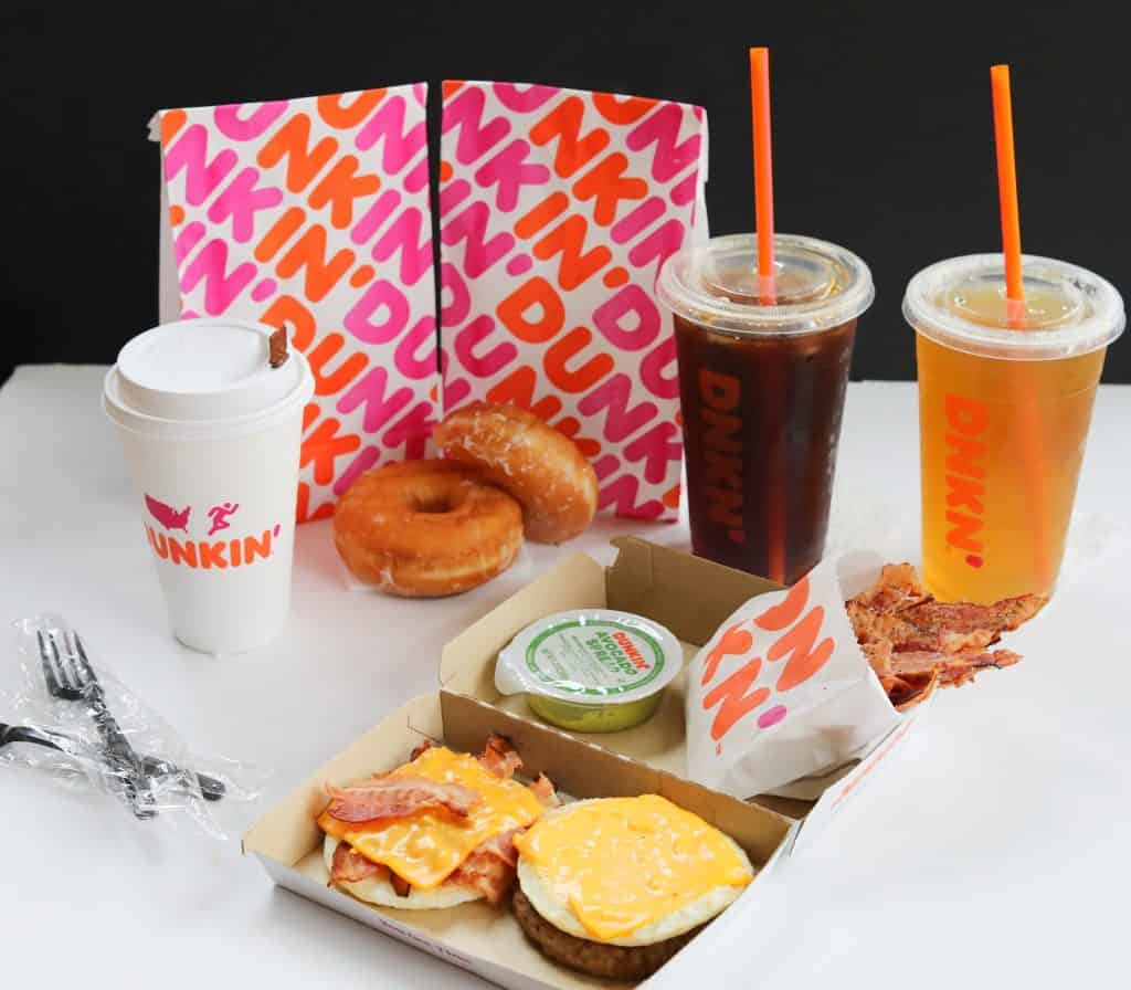 A full spread of dunkin products