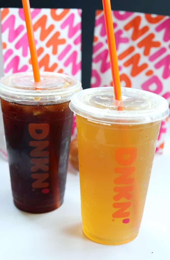 Iced tea from dunkin in clear cup