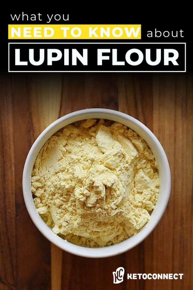 """Ground lupin flour in a white bowl with text that says """"what you need to know about Lupin Flour"""""""