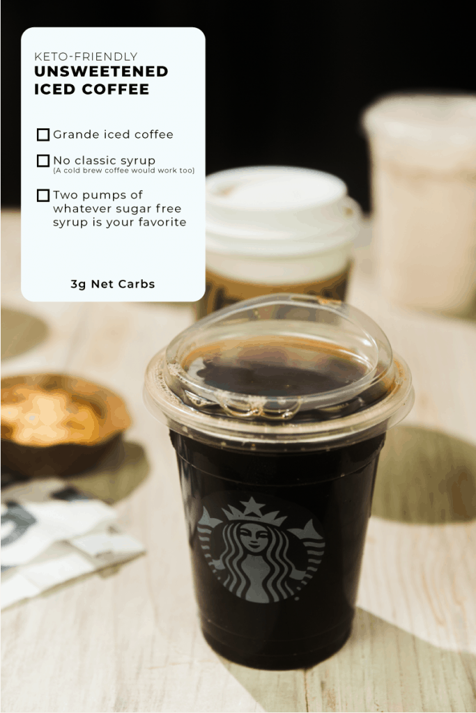 detailed instructions for ordering a keto friendly unsweetened iced coffee at starbucks