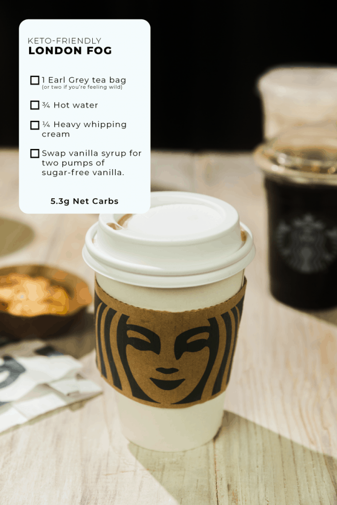 coffee cup with lid and ordering instructions for a london fog