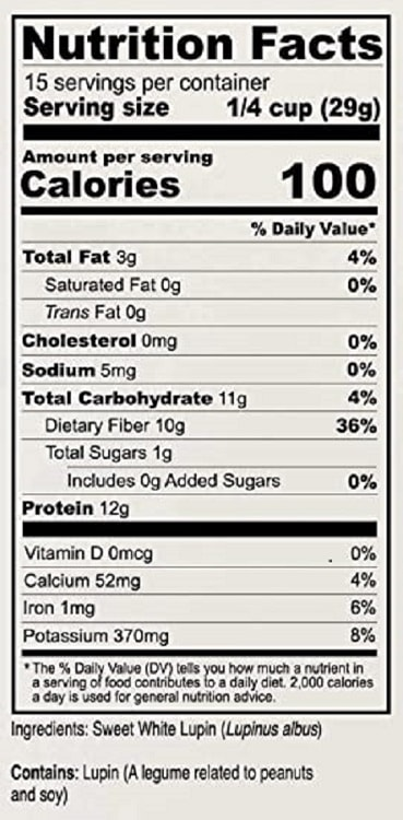 Full nutritional label for Anthonys Lupin Flour