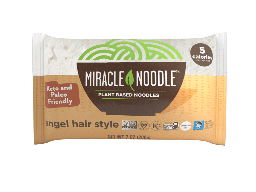 A single orange and white Angel Hair Miracle Noodle package