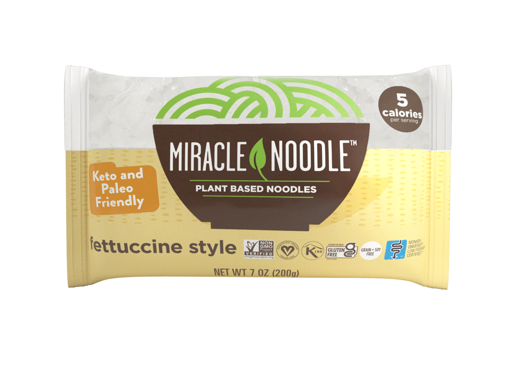 Fettuccine Style Miracle Noodles in a yellow and white package