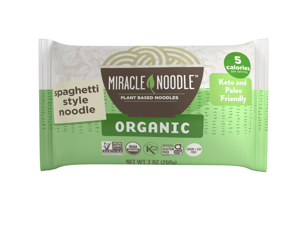 Spaghetti Style Miracle Noodle in a green and white package.