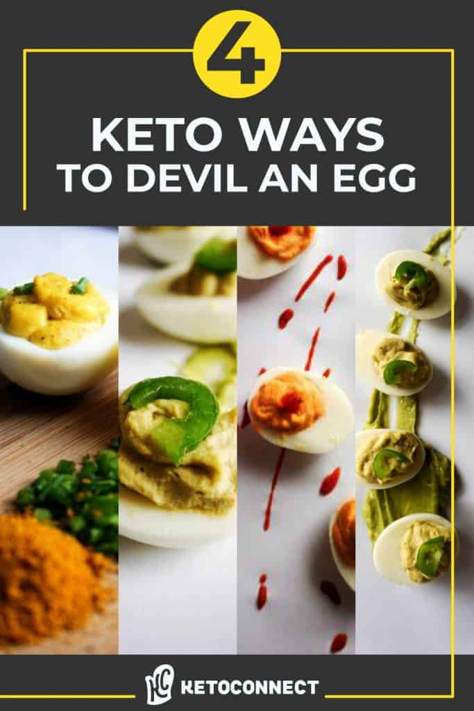 Four vertical pictures of variations of deviled eggs