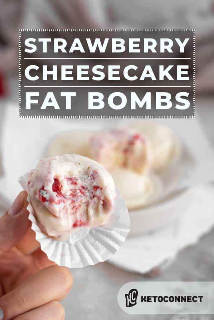 cheesecake fat bomb with a single bite taken out of it