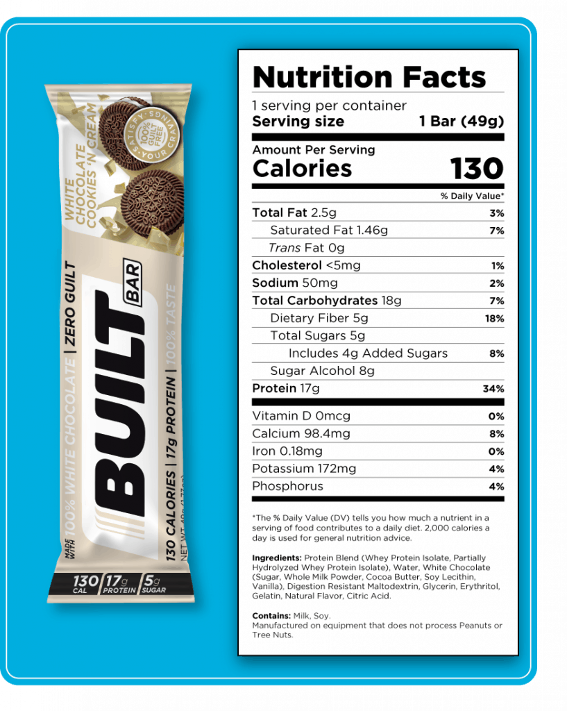 Nutritional label for the white chocolate cookies and cream built bar.
