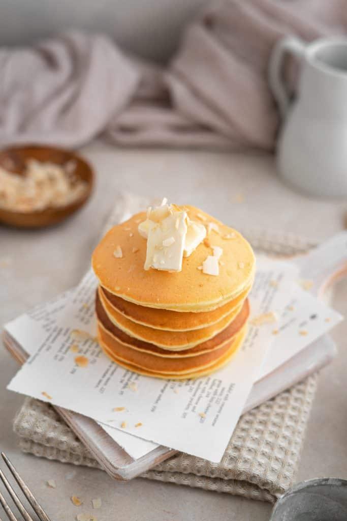 Keto protein pancakes stacked