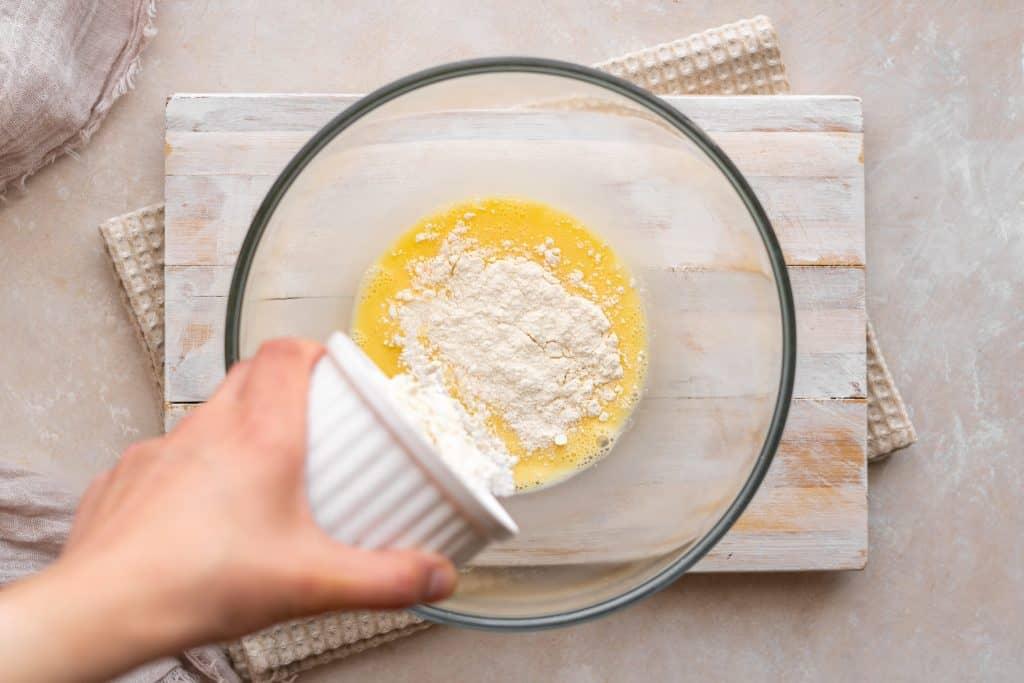 Adding protein powder to the eggs