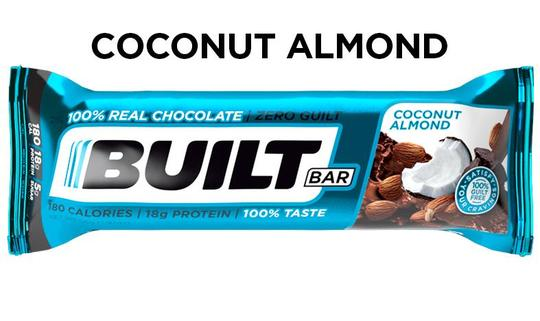 Single Built bar in a blue package, coconut almond flavor