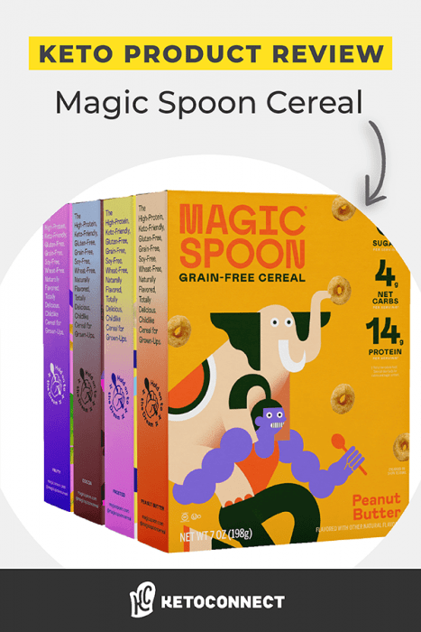 Four boxes of Magic Spoon cereal stacked behind each other.
