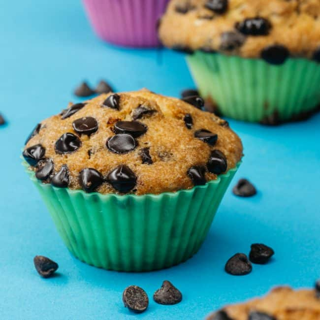 center shot of gooey chocolate chip muffins