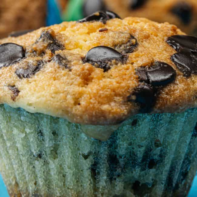 close up of keto chocolate chip muffins