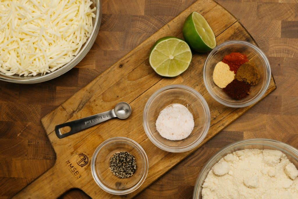Ingredients to make keto tortilla chips