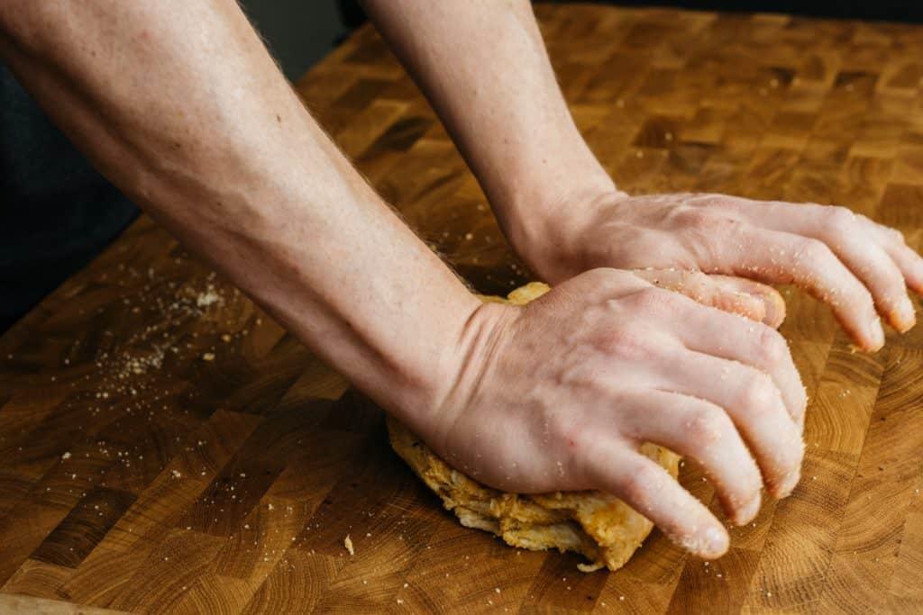 Kneading the tortilla chip dough