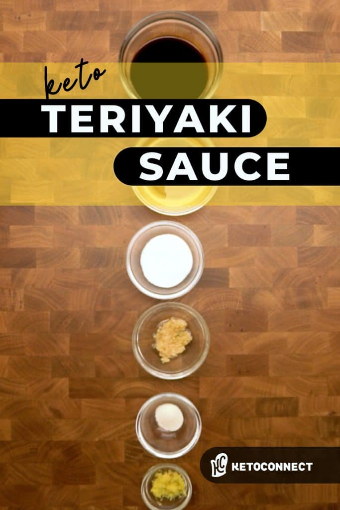 Ingredients for teriyaki sauce lined up in separate bowls on a wooden table